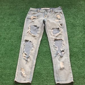 Melville Sz 24 distressed light button fly jeans